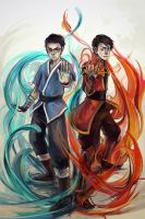 Water + Fire Benders by DoOp