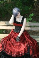 Black-red dress silver wig 3 by Noirin-Stock