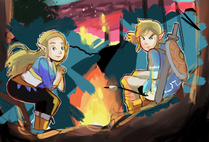 Link and Zelda Breath of the Wild Campfire Drawing by AlSanya