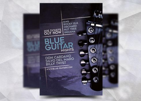 Blue Guitar Flyer Template by Flyermarket