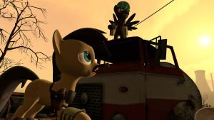 Fallout Equestria Cogs Fixmore and his Friend by Cogs-Fixmore