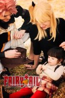 Fairy Tail cosplay - Natsu, Lucy and Asuka by onlycyn
