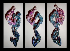 Triple Hanging Figures.  Front, side, and back. by cold-in-the-north