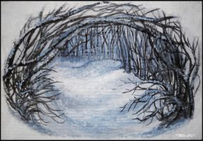 Forest covered with snow. by Mlle-Cle-Art