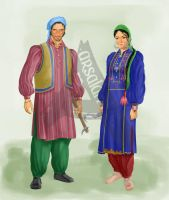 Traditional Pahari Pothohari Dresses by ArsalanKhanArtist