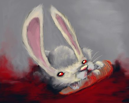 imposter bunny with blood by lilfrog