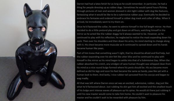 Submissive Rubber Pup (TF Caption) by latex19