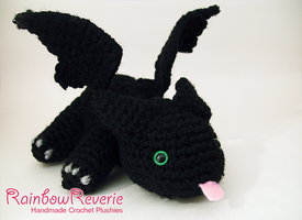 Black Baby Dragon Amigurumi Crochet Plush by RainbowReverie