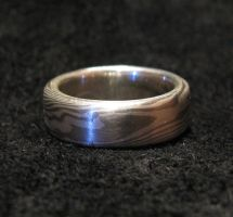 White Mokume Gane Band by Sothoth
