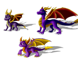 .: Three Spyro:. by kryptangel92