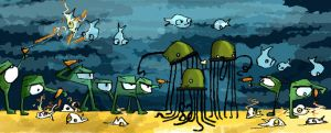 aliens and sea critters by RayArray