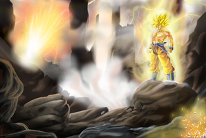 Goku on Namek by titidbz28