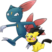 Sneasel and Pichu by FlawlessTea