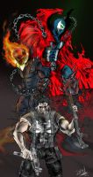 Punisher team Ghost Rider and Spawn by neometalero
