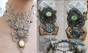 SALE Steampunk collar and watch cuff by Pinkabsinthe