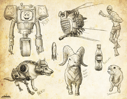 Fallout New Vegas Sketch Dump by velocitti