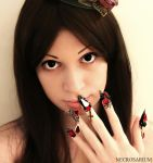 Wearing Jeweled Gothic Visual Kei Nails by Necrosarium