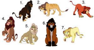 Male Lion Adoptables (Closed) by Sukida-Adopts
