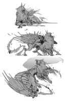 Gryphon sketches for Sharkfu by Tawnwen