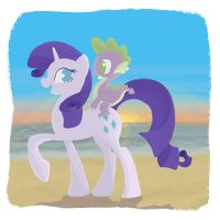 Commission : Rarity and Spike by Citron--Vert