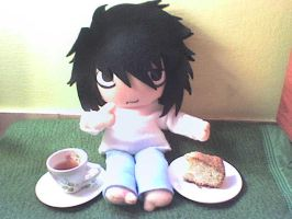 L plushie during tea time by VioletLunchell