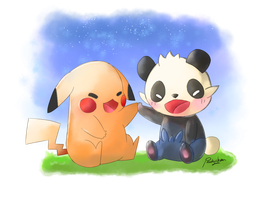Pokemon Pancham and Pikachu by PandyCookiez