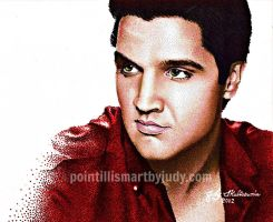 Elvis Presley in pointillism  by Judydotqueen