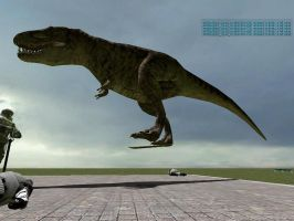 T-Rex on a Hoverboard by SilverSpiritUK