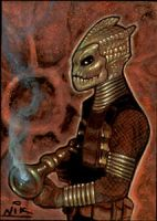 Dr Who Silurian  Sketch Card by NIK-Nick