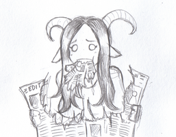 Goat girl tries to stay abreast of current events by Mr-Culexus