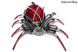 Steampunk - Sculpture - Velvet Pin Cushion Spider by CatherinetteRings