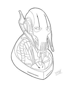 General Grievous Bust Lineart by Sammy514