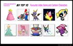 My Top 10 Fav Video Game and Cartoon Characters by xFlowerstarx