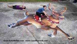 3D Chalked Christmas Reindeer 2 by charfade