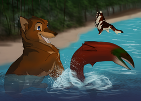 Gone Fishing by Snowfirewolf