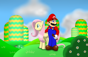 Mario and Fluttershy by faren916