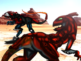 Abyss Beast V.S. Desert Beast by drago-flame