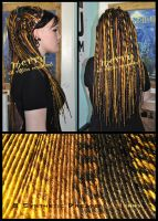 Gold set of synthetic dreads by Masquerade-Infernale