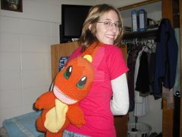 Crocheted Charmander Backpack by DearAngelTori