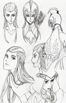 Elves of Middle-Earth sketches by cloudstrifejen