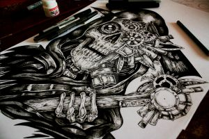 Steampunk Reaper- Tattoo commision by EG-TheFreak