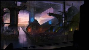 Sci Fi City Matte Painting by JasonRoll