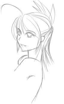 Girl Head Sketch by Sepiroth004