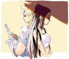 Cloud and Tifa by -tai-