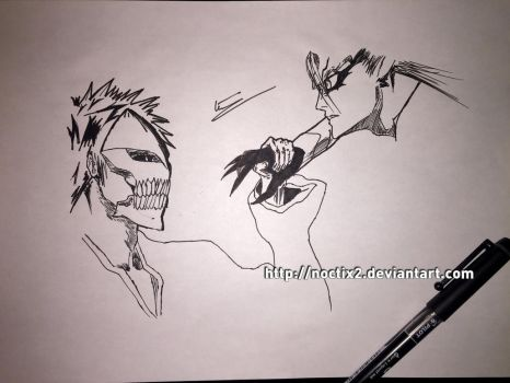 Ichigo / Grimmjow (quick sketch) by noctix2