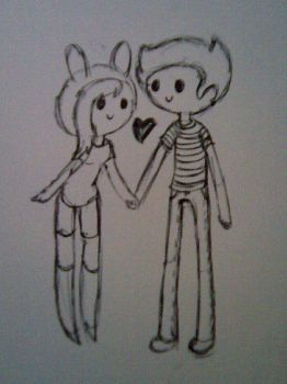 Fionna x Prince Gumball -sketch- by CoolCherryChan