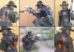 Steampunk Zombie Hunter Paintball Rig by rosewolfartisans