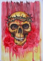 Skull Watercolor by Juliano-Pereira