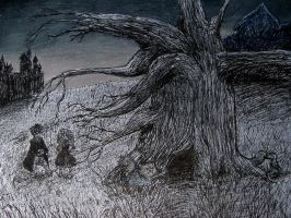 Crookshanks vs the Whomping Willow by KimmitheHealer