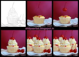 Cup cake tutorial by Khushiart